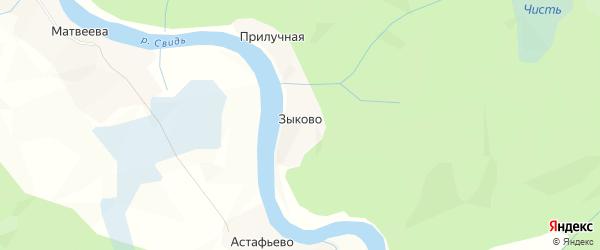 Карта деревни Зыково в Архангельской области с улицами и номерами домов