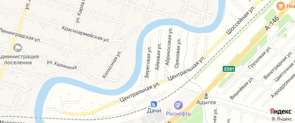 Береговая улица на карте садового некоммерческого товарищества Берега Афипсы с номерами домов