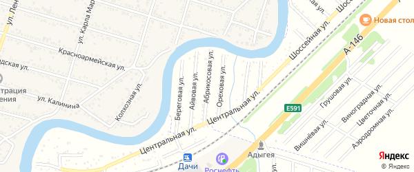 Абрикосовая улица на карте садового некоммерческого товарищества Берега Афипсы с номерами домов