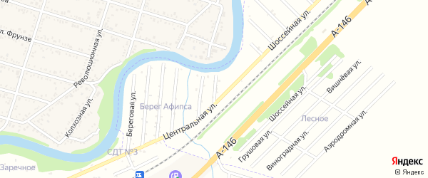 Заречная улица на карте садового некоммерческого товарищества Берега Афипсы с номерами домов