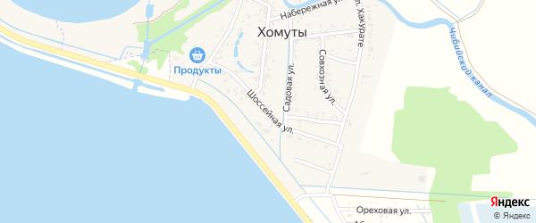 Шоссейная улица на карте хутора Хомуты с номерами домов