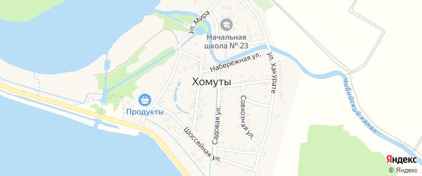 Южная улица на карте хутора Хомуты с номерами домов