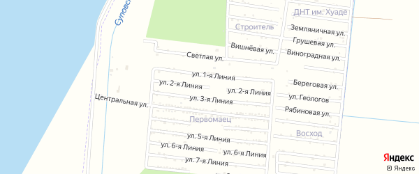 Улица 2 Линия на карте садового некоммерческого товарищества Первомайца с номерами домов