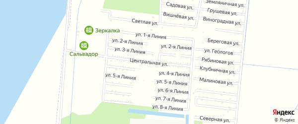 Центральная улица на карте садового некоммерческого товарищества Первомайца с номерами домов
