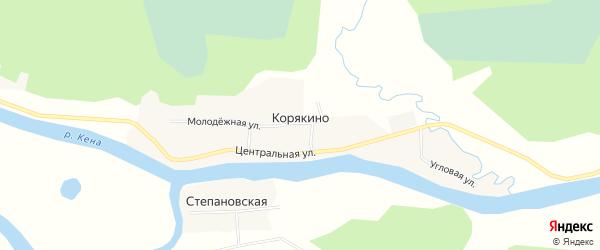 Карта деревни Корякино в Архангельской области с улицами и номерами домов