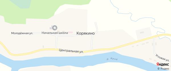 Угловая улица на карте деревни Корякино с номерами домов