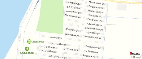 Садовая улица на карте садового некоммерческого товарищества Строителя с номерами домов
