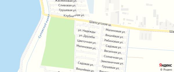 Улица Дружбы на карте садового некоммерческого товарищества Строителя с номерами домов