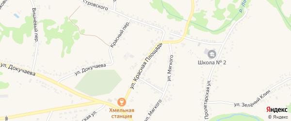 Улица Красная Площадь на карте поселка Ровенек с номерами домов