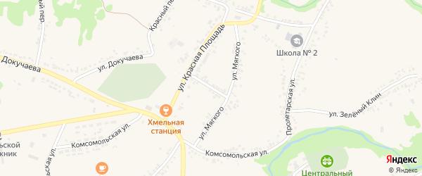 Улица Мягкого на карте поселка Ровенек с номерами домов
