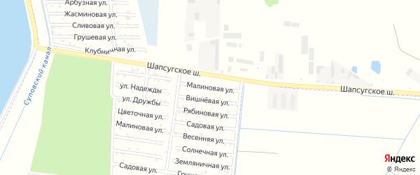 Малиновая улица на карте садового некоммерческого товарищества Имени Хуаде с номерами домов