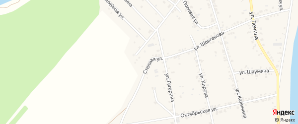 Степная улица на карте аула Старобжегокай с номерами домов