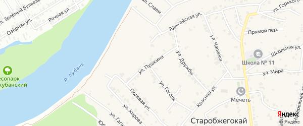 Улица Пушкина на карте аула Старобжегокай с номерами домов