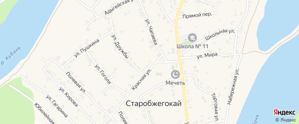 Красная улица на карте садового некоммерческого товарищества Восхода 2 с номерами домов