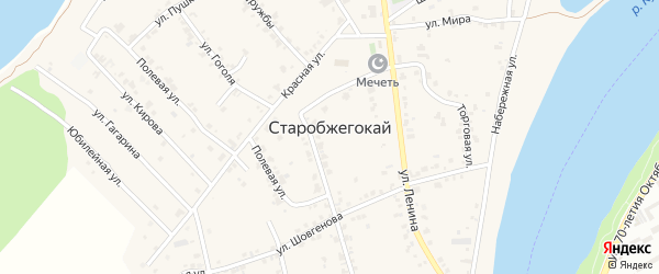 Улица Нахимова на карте аула Старобжегокай с номерами домов