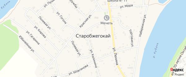 Кубанская улица на карте аула Старобжегокай с номерами домов