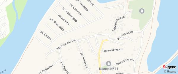Адыгейская улица на карте аула Старобжегокай с номерами домов