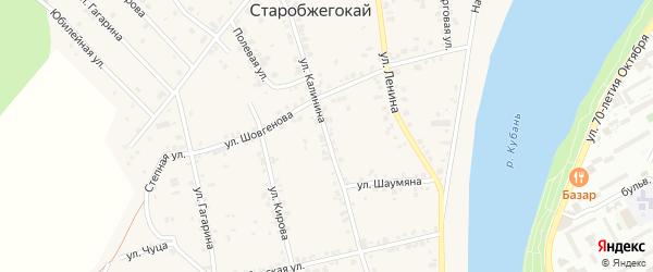 Улица Калинина на карте аула Старобжегокай с номерами домов