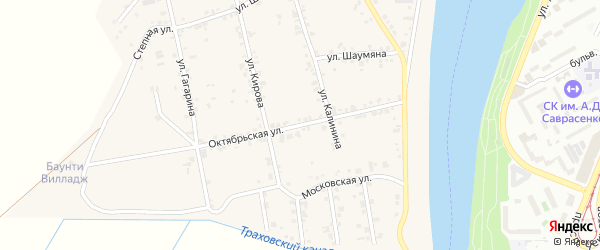 Октябрьская улица на карте аула Старобжегокай с номерами домов