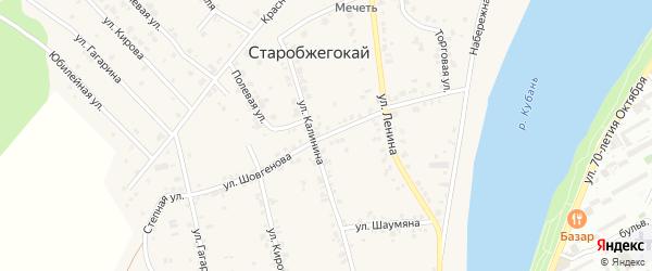 Улица Шовгенова на карте аула Старобжегокай с номерами домов