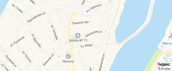 Школьная улица на карте аула Старобжегокай с номерами домов