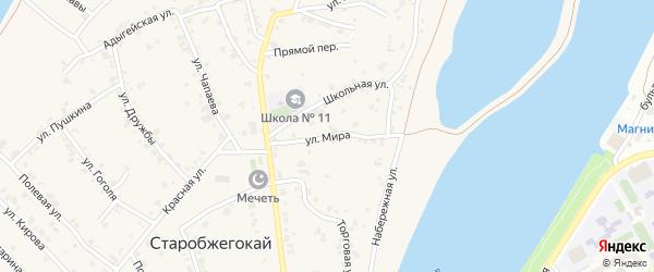 Улица Мира на карте аула Старобжегокай с номерами домов
