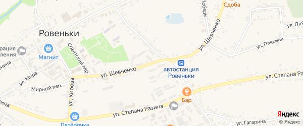 Улица Шевченко на карте поселка Ровенек с номерами домов