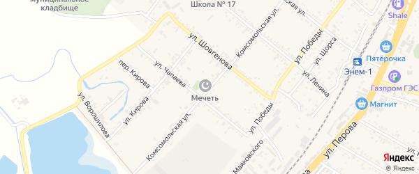 Комсомольская улица на карте поселка Энема с номерами домов