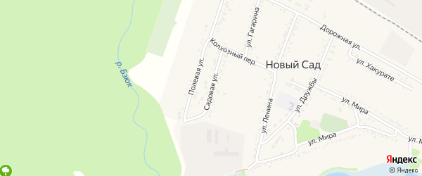 Садовая улица на карте хутора Нового Сада с номерами домов