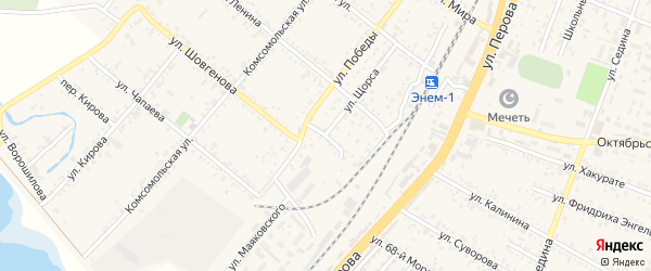 Переулок Победы на карте поселка Энема с номерами домов