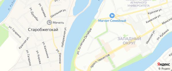 Карта садового некоммерческого товарищества 70 лета Октября в Адыгее с улицами и номерами домов
