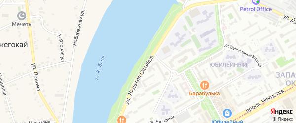 Центральная улица на карте садового некоммерческого товарищества 70 лета Октября с номерами домов