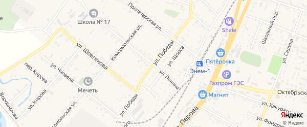 Улица Победы на карте поселка Энема с номерами домов