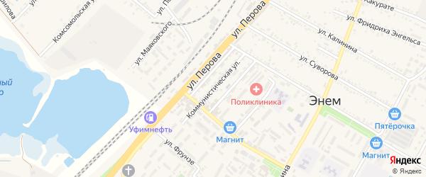 Коммунистическая улица на карте поселка Энема с номерами домов