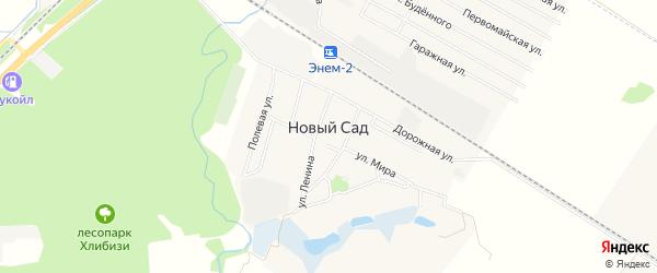 Карта хутора Нового Сада в Адыгее с улицами и номерами домов
