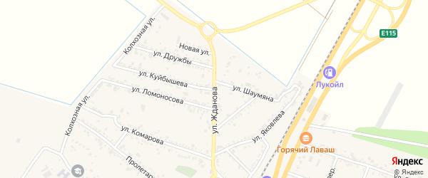 Улица Жданова на карте поселка Энема с номерами домов
