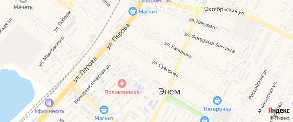 Дорога А/Д Энем-Дружный на карте поселка Энема с номерами домов