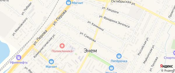 Улица Суворова на карте поселка Энема с номерами домов
