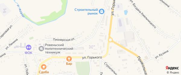 Пионерская улица на карте поселка Ровенек с номерами домов