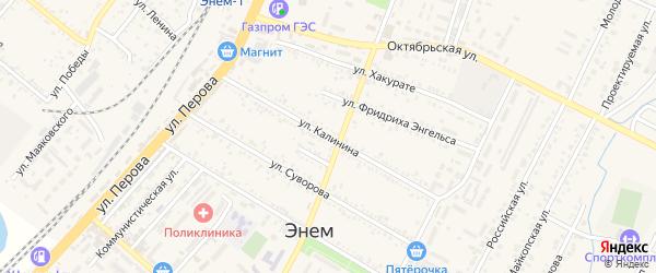 Улица Калинина на карте поселка Энема с номерами домов