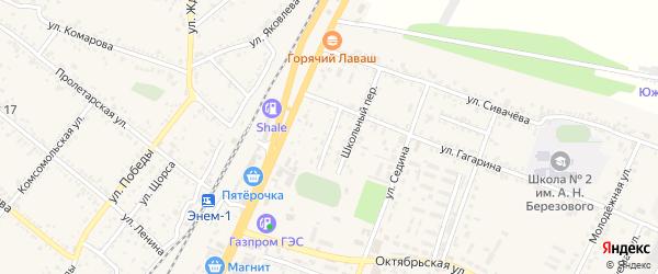 Спортивный переулок на карте поселка Энема с номерами домов