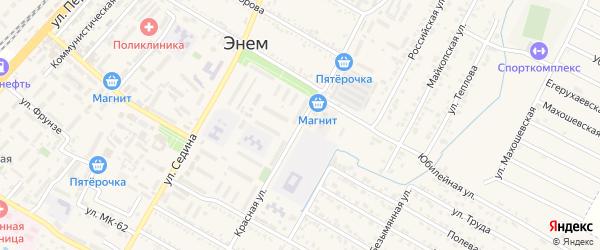 Красная улица на карте поселка Энема с номерами домов