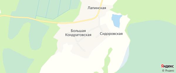 Карта Большей Кондратовской деревни в Архангельской области с улицами и номерами домов