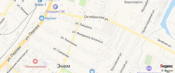 Улица Энгельса на карте поселка Энема с номерами домов
