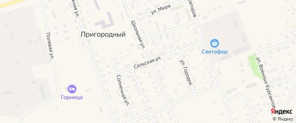 Сельская улица на карте Пригородного поселка с номерами домов