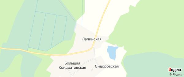 Карта Лапинской деревни в Архангельской области с улицами и номерами домов