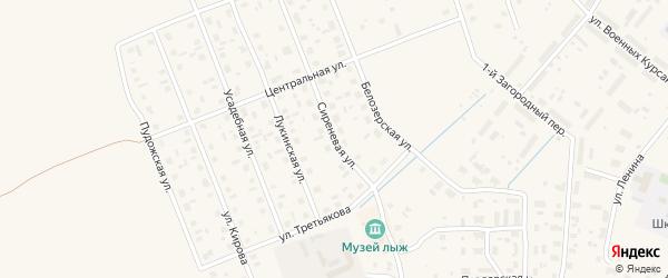 Сиреневая улица на карте Каргополя с номерами домов