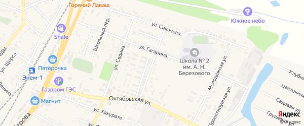 Улица Лермонтова на карте поселка Энема с номерами домов