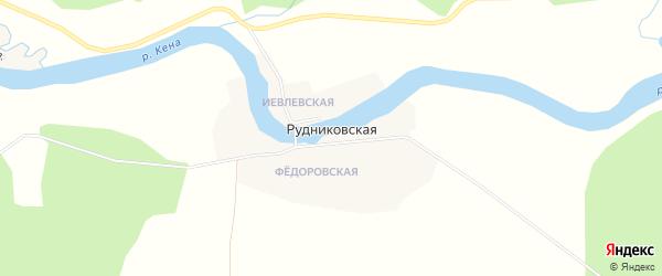 Карта Рудниковской деревни в Архангельской области с улицами и номерами домов