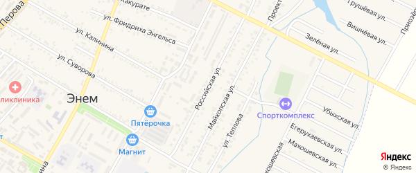Российская улица на карте поселка Энема с номерами домов